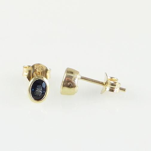 Gold Oval Sapphire Stud Earrings