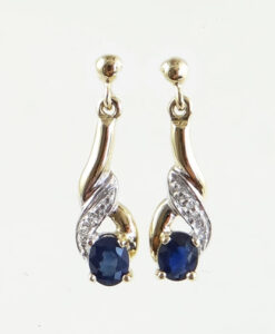 9ct Gold Sapphire and Diamond Drop Earrings