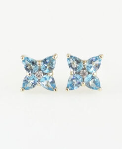 Yellow Gold blue topaz cluster earrings
