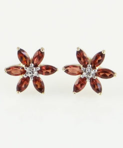 gold garnet and diamond earrings