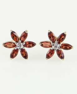 gold garnet and diamond earrings
