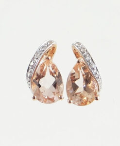 Rose Gold Morganite Pear and Diamond Swirl Earrings