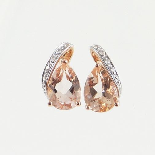 Rose Gold Morganite Pear and Diamond Swirl Earrings