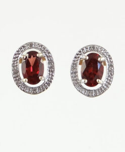 Gold Garnet and Diamond Halo Earrings
