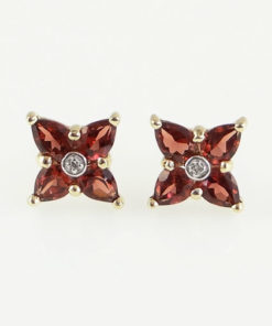 gold garnet and diamond cluster earrings
