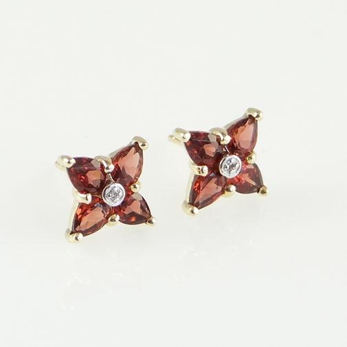 Garnet and diamond cluster earrings
