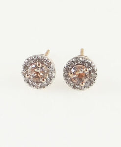 Rose Gold Morganite and Diamond Halo Earrings