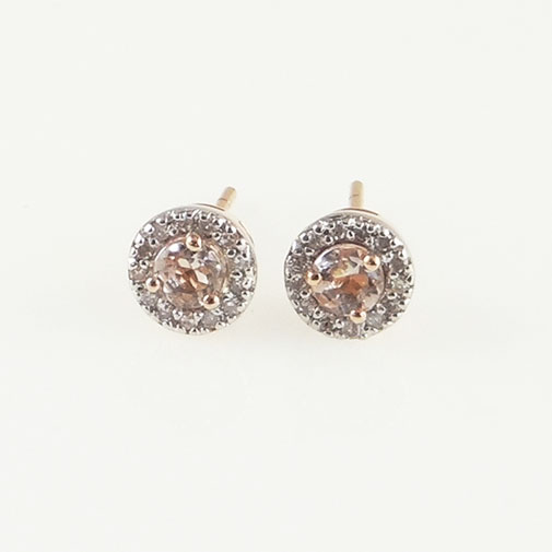 Rose Gold Morganite and Diamond Halo Earrings