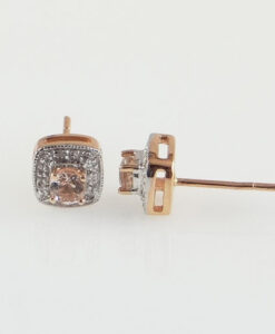 Rose Gold Morganite and Diamond Cluster Earrings