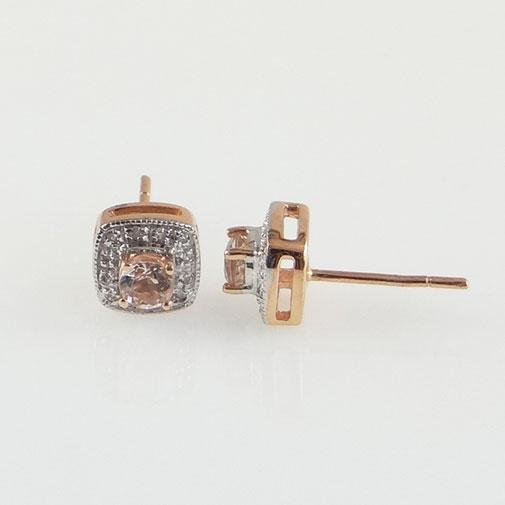 Rose Gold Morganite and Diamond Cluster Earrings