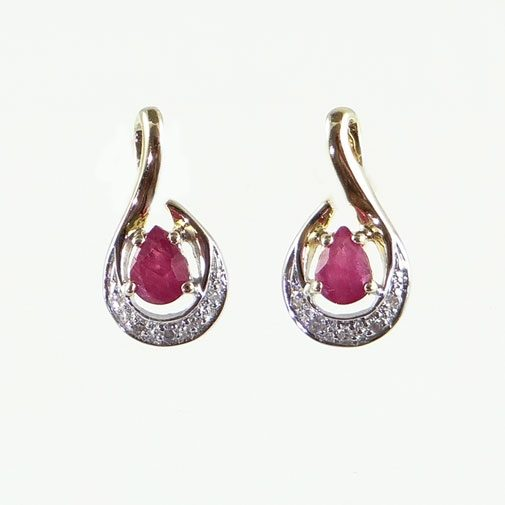 Ruby and Diamond Crescent Earrings
