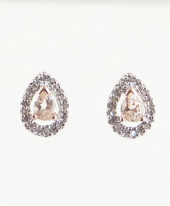 Rose Gold Morganite Pear and Diamond Halo Earrings