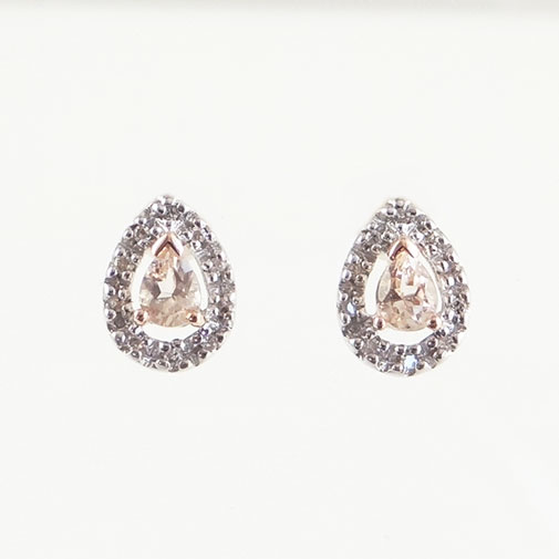Rose Gold Morganite Pear and Diamond Halo Earrings