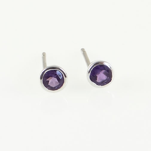 Silver Amethyst Stud Earrings