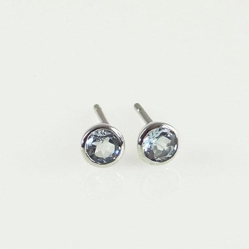 Round Aquamarine Stud Earrings