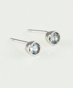 Silver Round Aquamarine Stud Earrings