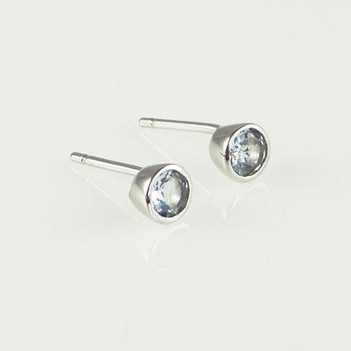 Silver Round Aquamarine Stud Earrings
