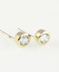 Gold quamarine Stud Earring