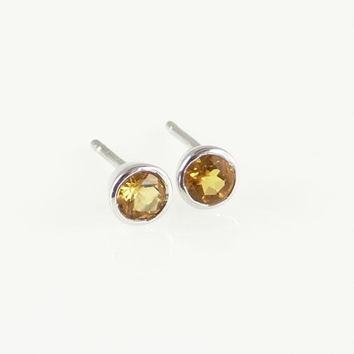 Silver Citrine Stud Earrings