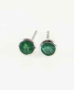 Sterling Silver Emerald Stud Earrings