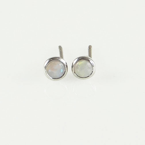Silver Round Opal Stud Earrings
