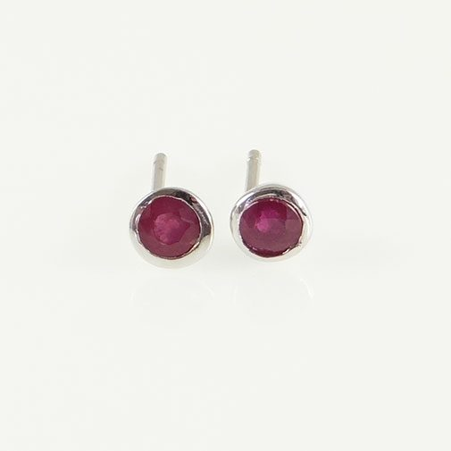 Sterling Silver Round Ruby Stud Earrings