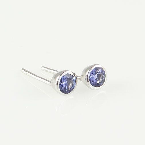 Silver Tanzanite Stud Earrings