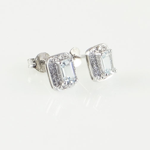 Aquamarine and Diamond Halo Earrings