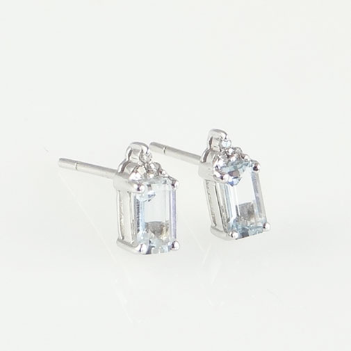 Aquamarine and Accent Diamond Earrings