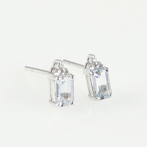 Aquamarine and Accent Diamond Earrings