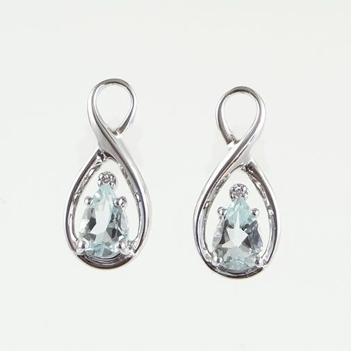 Aquamarine and Diamond Swirl Earrings