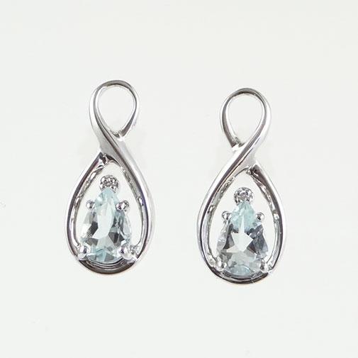 Aquamarine and Diamond Swirl Earrings