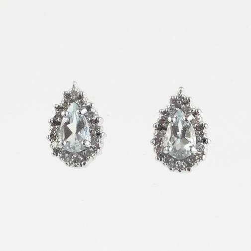 Gold Aquamarine and Diamond Cluster Earrings