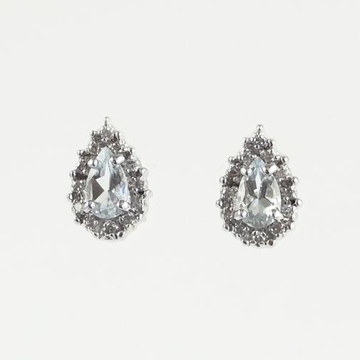 Gold Aquamarine and Diamond Cluster Earrings