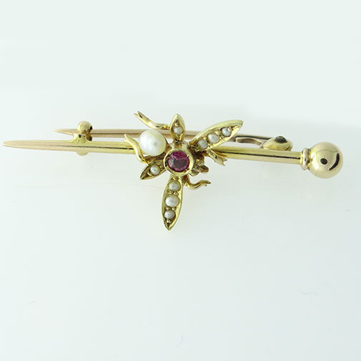 Gold Ruby and Seed Pearly Fly Brooch