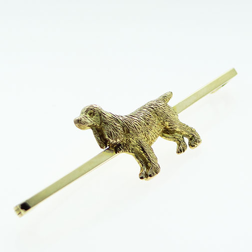 Antique 9ct Gold Officers Bar Dog Brooch