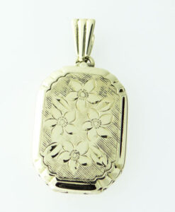 9ct Gold Engraved Locket by Georg Jensen