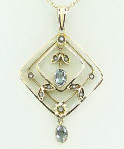 Aquamarine and Seed Pearl Pendant