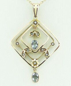 Aquamarine and Seed Pearl Pendant