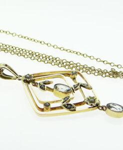 9ct Gold Aquamarine and Seed Pearl Pendant