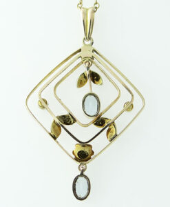 Gold Aquamarine and Seed Pearl Pendant