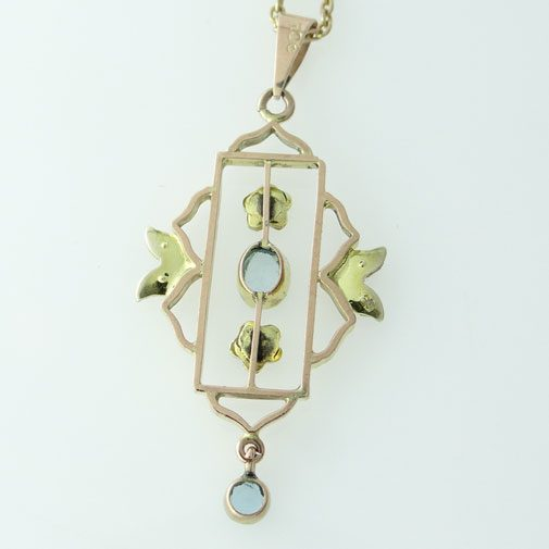 9ct Gold Blue Topaz and Pearl Pendant