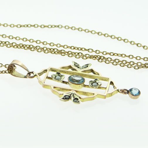Gold Blue Topaz and Pearl Pendant