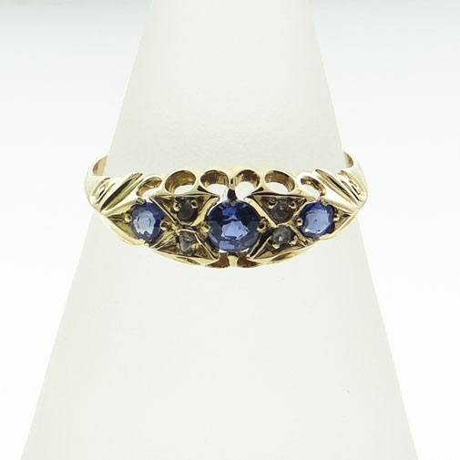 Gold Diamond and Sapphire Boat Ring