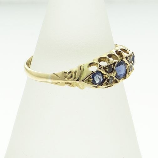 Diamond and Sapphire Boat Ring
