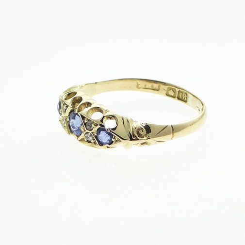 18ct Gold Diamond and Sapphire Boat Ring