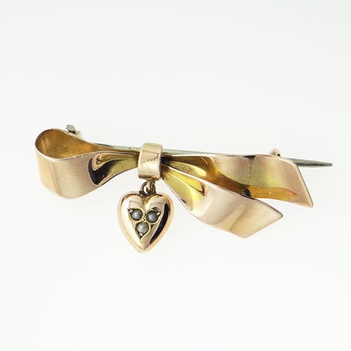 9ct Rose Gold Ribbon and Heart Brooch