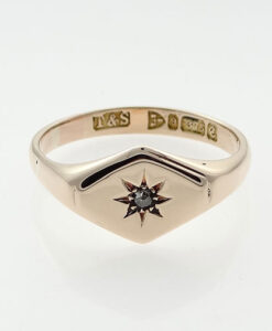 Gold Diamond Set Signet Ring