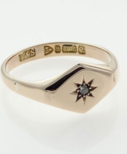 Rose Gold Diamond Set Signet Ring