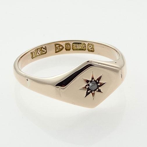 Rose Gold Diamond Set Signet Ring